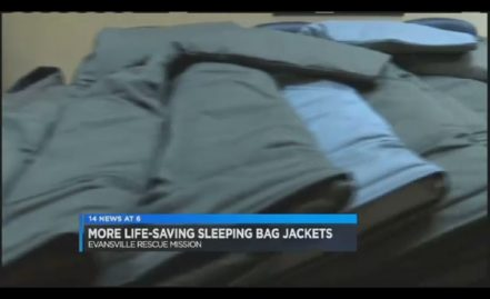 Your Evansville Rescue Mission handing out unique sleeping bag jackets